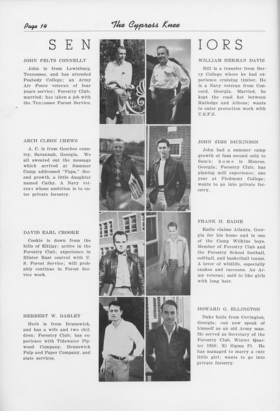 The Cypress Knee, 1950, Seniors, John Felts Connelly, William Herman Davis, Arch Cleon Crews, John Sims Dickinson, David Earl Crooke, Frank H. Eadie, Herbert W. Darley, Howard G. Ellington, pg. 14