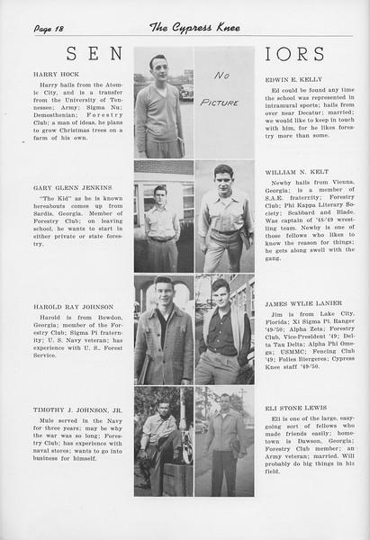 The Cypress Knee, 1950, Seniors, Harry Hock, Gary Glenn Jenkins, Harold Ray Johnson, Timothy J. Johnson, Edwin E. Kelly, William N. Kelt, James Wylie Lanier, Eli Stone Lewis, pg. 18