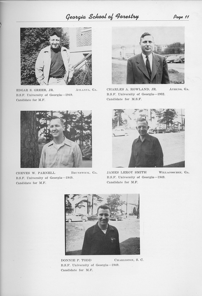 The Cypress Knee, 1950, Graduate Studnets, Edgar S. Greer, Charles A. Rowland, Cheves W. Parnell, James Leroy Smith, Donnie P. Todd, pg. 11