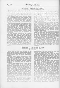 """The Cypress Knee, 1950, """"Alumni Meeting 1950"""", """"Senior Camp for 1949"""", Jack Greer, pg. 34"""