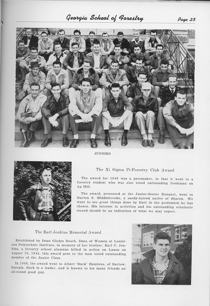 The Cypress Knee, 1950, Junior Class, Xi Sigma Pi-Forestry Club Award, Burton S. Middlebrooks, The Earl Jenkins Memorial Award, Albery Hembree, pg. 25