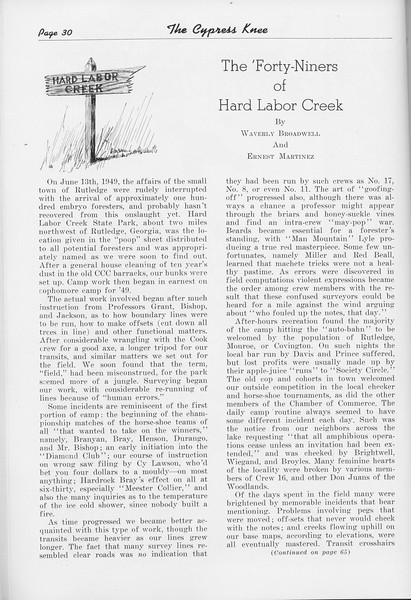 """The Cypress Knee, 1950, """"The 'Forty-Niners of Hard Labor Creek"""", Waverly Broadwell and Ernest Martinez, pg. 30"""