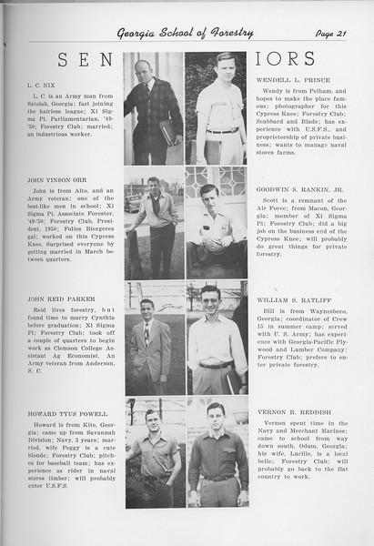The Cypress Knee, 1950, Seniors, L. C. Nix, John Vinson Orr, John Reid Parker, Howard Tyus Powell, Wendell L. Prince, Goodwin S. Rankin, Wiliam S. Ratliff, Vernon R. Reddish, pg. 21