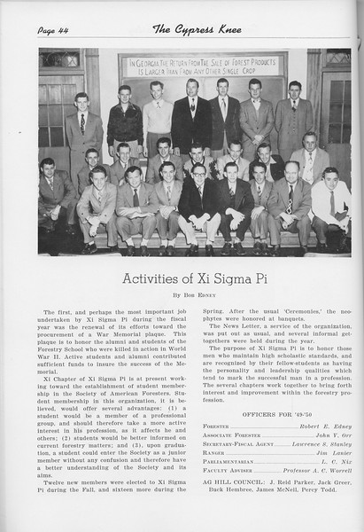 The Cypress Knee, 1950, Activities of Xi Sigma Pi, pg. 44