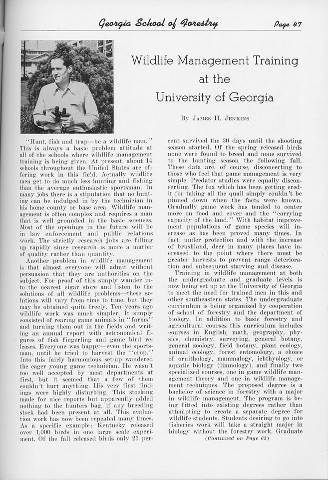 "The Cypress Knee, 1950, ""Wildlife Management Training at the University of Georgia"", James H. Jenkins, pg. 47"