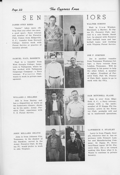 The Cypress Knee, 1950, Seniors, James Otey Reed, Samuel Paul Roberts, Willard J. Sellers, John Millard Shavis, Walter Simons, Joe P. Simpson, Sam Mitchell Slade, Lawrence S. Stanley, pg. 22