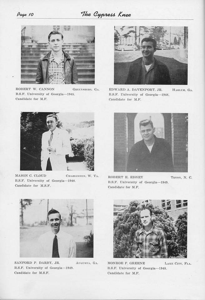 The Cypress Knee, 1950, Graduate Students, Robert W. Cannon, Edward A. Davenport, Mason C. Cloud, Robert E. Edney, Sanford P. Darby, Monroe F. Greene, pg. 10