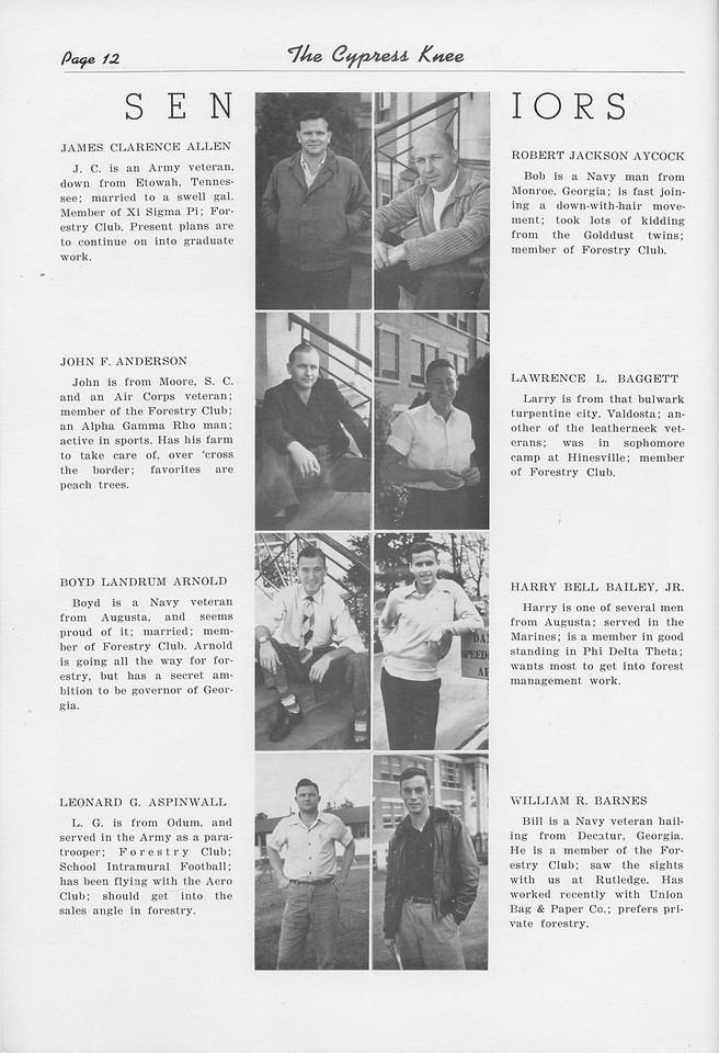 The Cypress Knee, 1950, Seniors, James Clarence Allen, Robert Jackson Aycock, John F. Anderson, Larence L. Beggat, Boyd Landrum Arnold, Harry Bell Bailey, Leonard G. Aspinwall, William R. Barnes, pg. 12