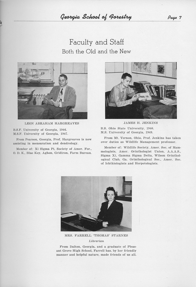 The Cypress Knee, 1950, Faculty and Staff, Leon Abraham Hargreaves, James H. Jenkins, Farrell Thomas Starnes, pg. 7