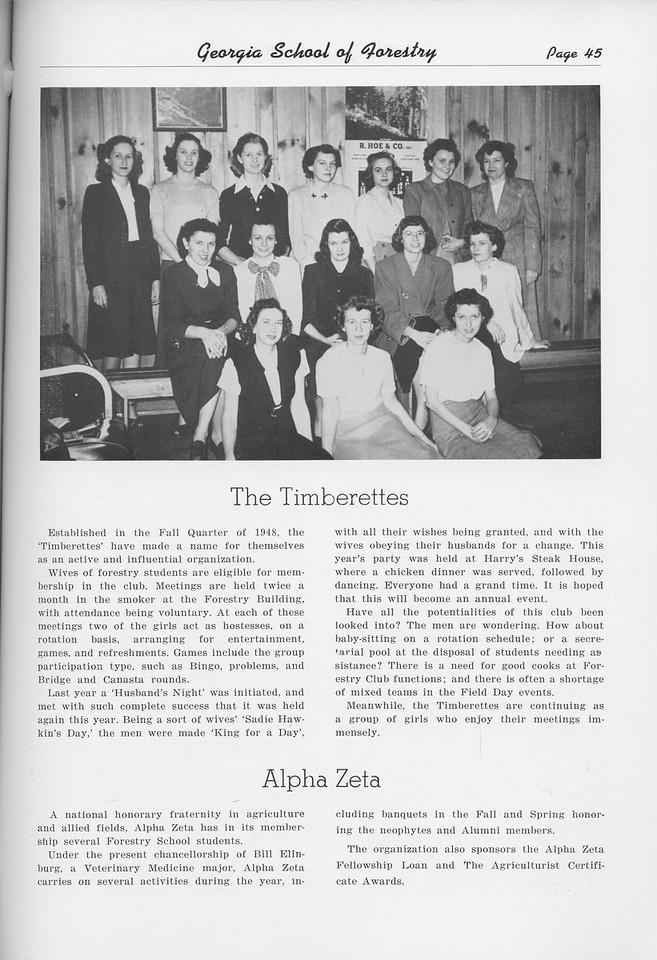 The Cypress Knee, 1950, The Timberettes, Alpha Zeta, pg. 45