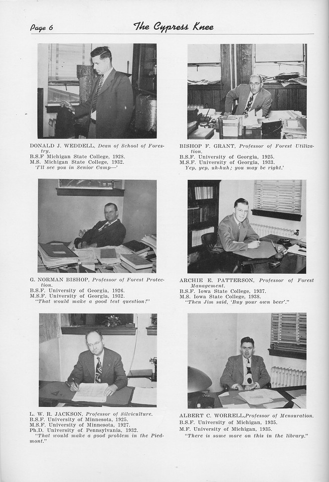 The Cypress Knee, 1950, Faculty, Donald J. Weddell, Bishop F. Grant, G. Norman Bishop, Archie E. Patterson, L. W. R. Jackson, Albert C. Worrell, pg. 6