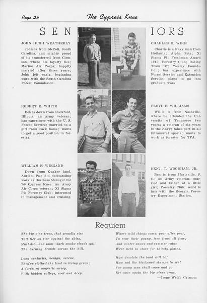 "The Cypress Knee, 1950, Seniors, John Hugh Weatherly, Robert E. White, William E. Wiegand, Charles O. Wike, Floyd E. Williams, Benj T. Woodham, ""Requiem"", Irene Welch Grissom, pg. 24"