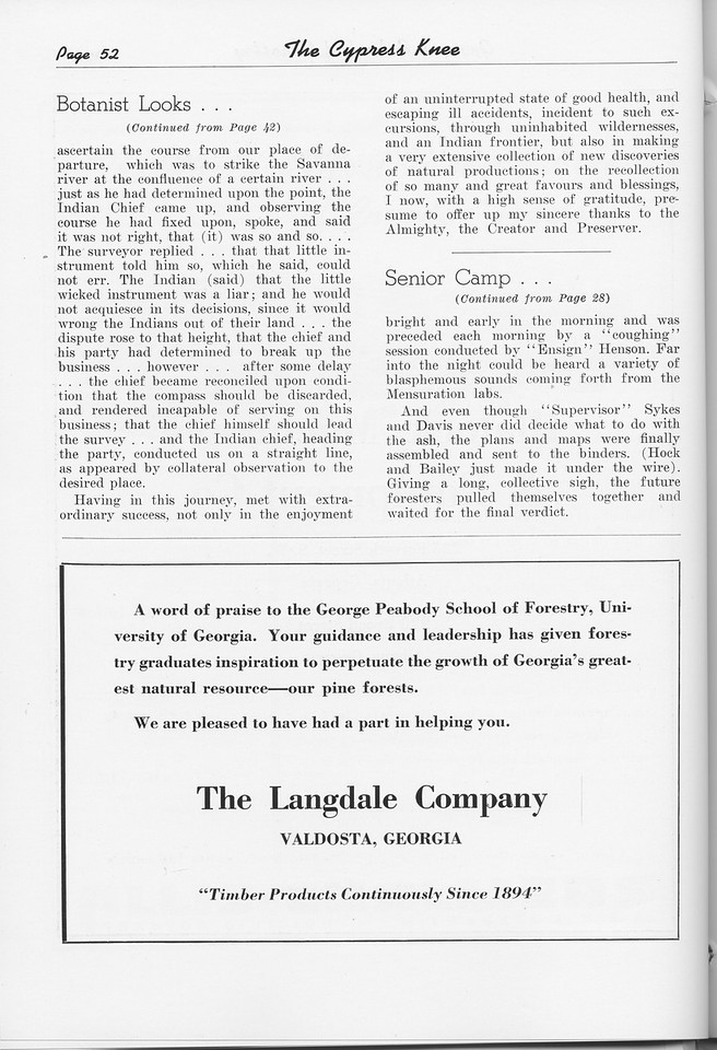 """The Cypress Knee, 1951, """"A Botanist Looks at Georgia"""" (continued), """"Senior Camp"""" (continued), The Langdale Company, pg. 52"""