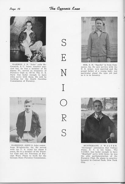 The Cypress Knee, 1951, Seniors, J. B. Harmon, John Harrison, S. H. Hix, Walter Huntemann, pg. 16