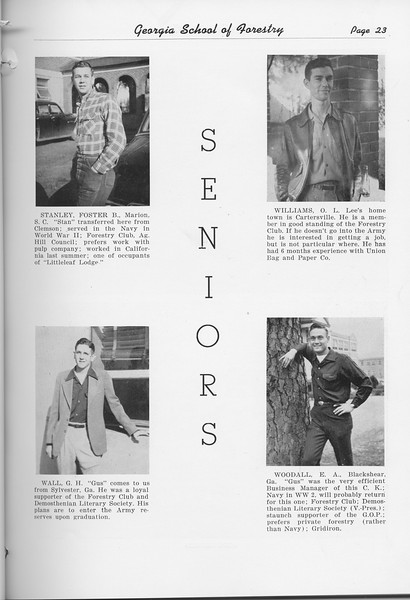 The Cypress Knee, 1951, Seniors, Foster Stanley, G. H. Wall, O. L. Williams, E. A. Woodall, pg. 23