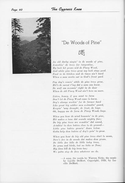 """The Cypress Knee, 1951, """"De Woods of Pine"""", Warren Nicke, pg. 40"""