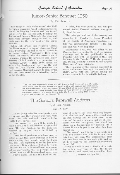 "The Cypress Knee, 1951, ""Junior-Senior Banquet, 1950"" Tal Arnette, ""The Seniors' Farewell Address"", J. Reid Parker, pg. 37"