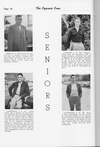 The Cypress Knee, 1951, Seniors, E. A. Kreis, J. J. Langdale, J. H. Langley, G. M. Livingston, pg. 18