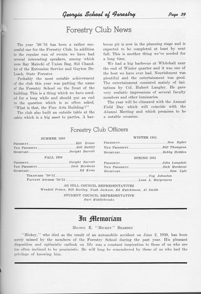"The Cypress Knee, 1951, ""Forestry Club News"", In Memoriam, pg. 39"