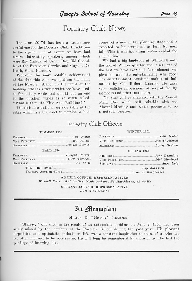 """The Cypress Knee, 1951, """"Forestry Club News"""", In Memoriam, pg. 39"""