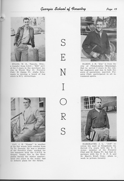 The Cypress Knee, 1951, Seniors, W. B. Evans, J. E. Gay, J. H. Hardy, J. L. Hargraves, pg. 15