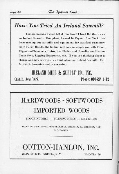 The Cypress Knee, 1951, Ireland Mill and Supply Co., Cotton-Hanlon Inc., pg. 60