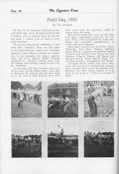 "The Cypress Knee, 1951, ""Field Day, 1950"", Tal Arnette, pg. 36"