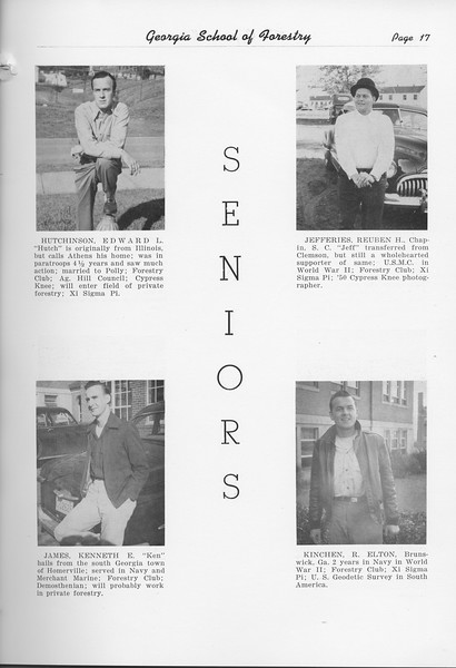 The Cypress Knee, 1951, Seniors, Edward Hutchinson, Kenneth James, Reuben Jefferies, Elton Kinchen, pg. 17