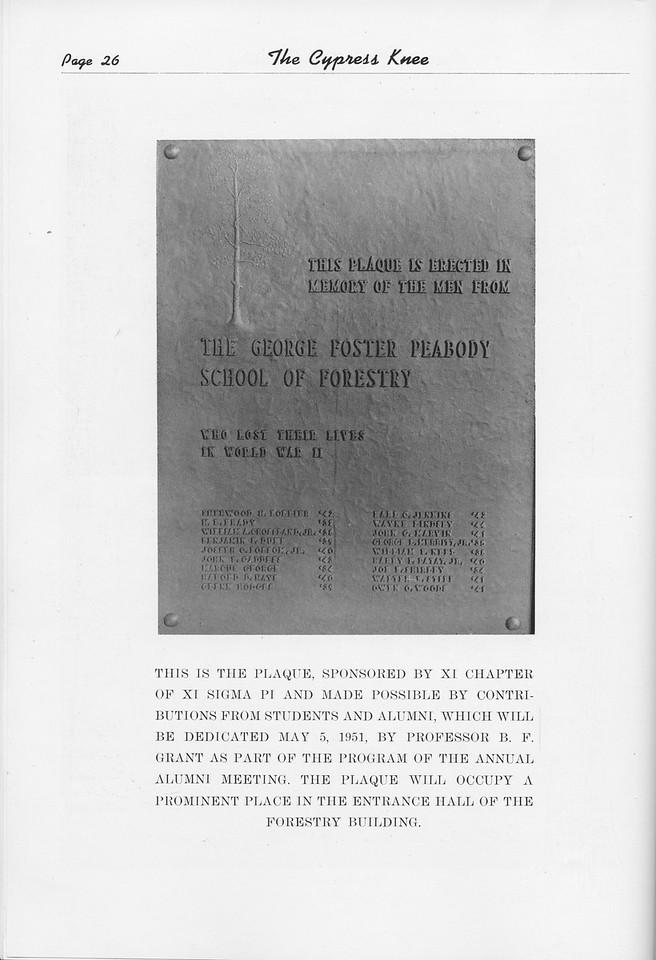 The Cypress Knee, 1951, In Memorium, pg. 26