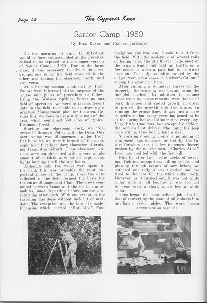 "The Cypress Knee, 1951, ""Senior Camp-1950"", Bill Evans and Reuben Jefferies, pg. 28"
