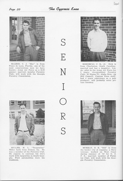 The Cypress Knee, 1951, Seniors, C. J. McLeod, M. L. Miller, C. R. Mordecai, B. R. Murray, pg. 20