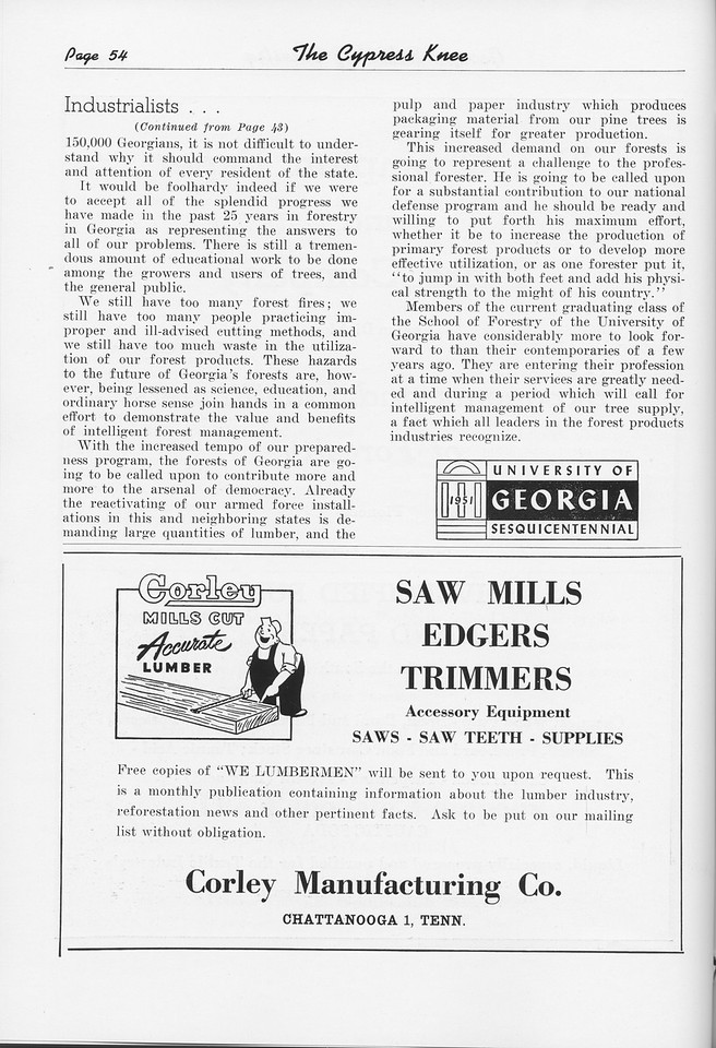 """The Cypress Knee, 1951, """"An Industrialist Looks at Georgia"""" (continued), Corley Manufacturing Co., pg. 54"""