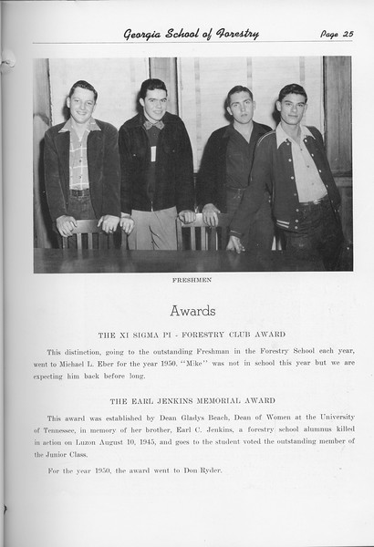 The Cypress Knee, 1951, Freshman Class, Xi Sigma Pi-Forestry Club Award, Michael L. Eber, The Earl Jenkins Memorial Award, Don Ryder, pg. 25