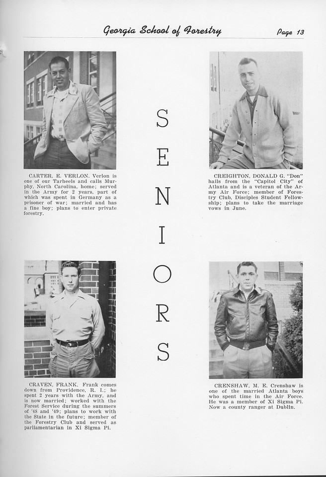 The Cypress Knee, 1951, Seniors, Verlon Carter, Frank Craven, Donald Creighton, M. E. Crenshaw, pg. 13