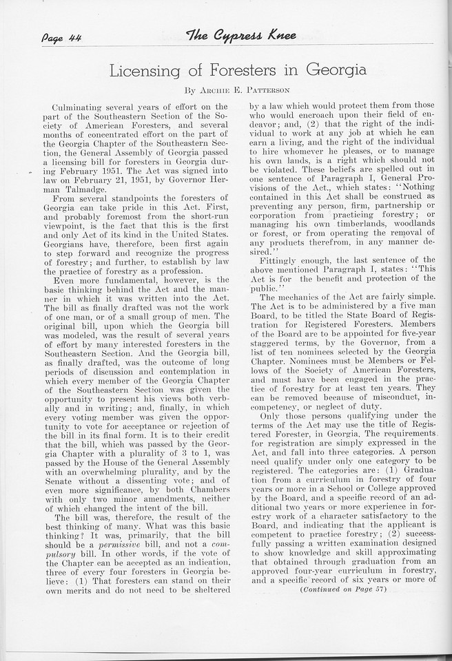 """The Cypress Knee, 1951, """"Licensing of Foresters in Georgia"""", Archie E. Patterson, pg. 44"""