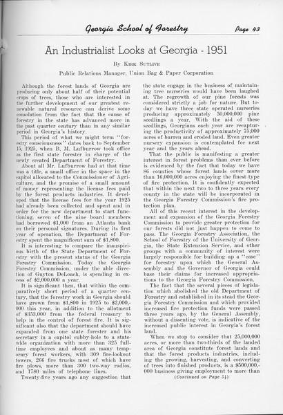 """The Cypress Knee, 1951, """"An Industrialist Looks at Georgia- 1951"""", Kirk Sutlive, pg. 43"""