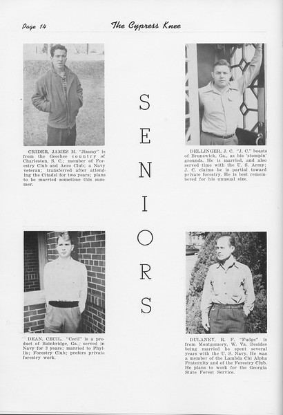 The Cypress Knee, 1951, Seniors, James Crider, Cecil Dean, J. C. Dellinger, R. F. Dulaney, pg. 14
