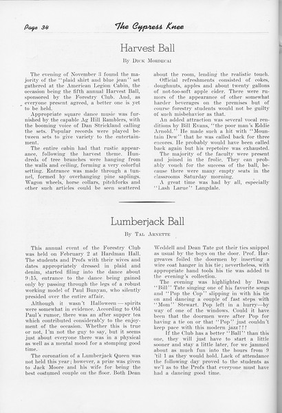 "The Cypress Knee, 1951, ""Harvest Ball"", Dick Mordecai, ""Lumberjack Ball"", Tal Arnette, pg. 34"