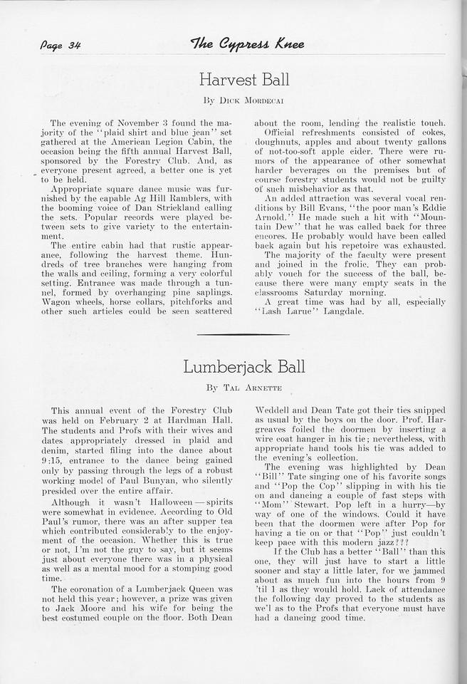 """The Cypress Knee, 1951, """"Harvest Ball"""", Dick Mordecai, """"Lumberjack Ball"""", Tal Arnette, pg. 34"""