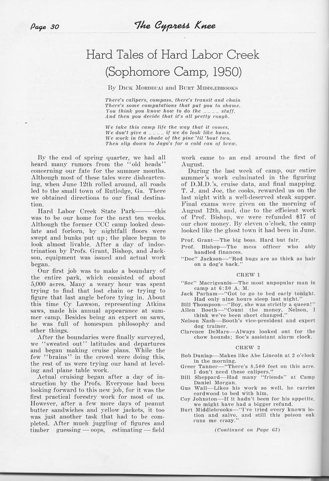 "The Cypress Knee, 1951, ""Hard Tales of Hard Labor Creek-- Sophomore Camp, 1950)"", Dick Mordecai, Burt Middlebrooks, pg. 30"