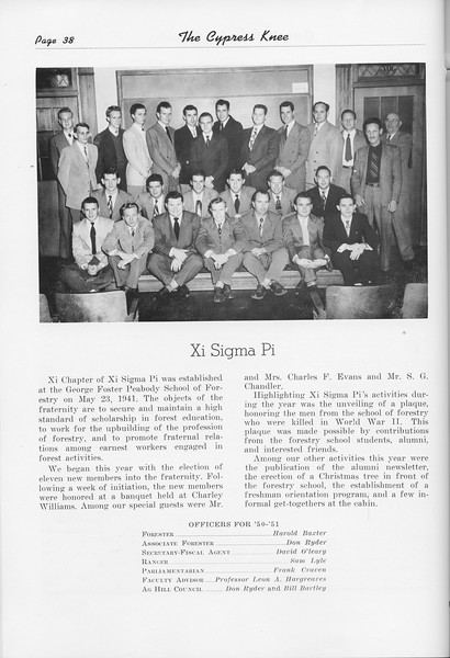 The Cypress Knee, 1951, Xi Sigma Pi, pg. 38