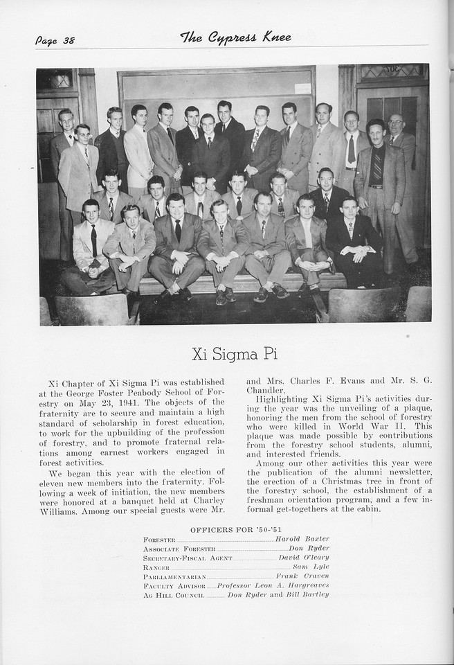 The Cypress Knee, 1951, Xi Sigma Pi, pg. 38