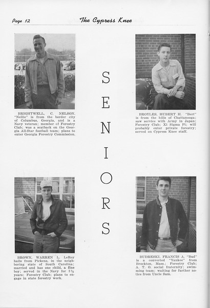 The Cypress Knee, 1951, Seniors, Nelson Brightwell, Warren Brown, Hubert Broyles, Francis Budreski, pg. 12