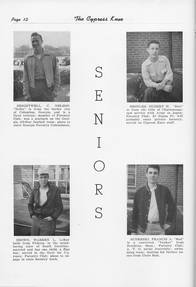 The Cypress Knee, 1951, Seniors, Nelson Brightwell, Warren Brown, Hubert Broyles, Francis Budreski, pg. 12
