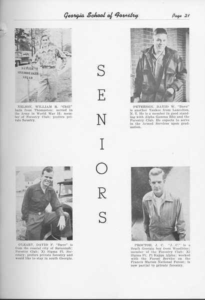 The Cypress Knee, 1951, Seniors, William Nelson, David O'Leary, David Peterson, J. C. Proctor, pg. 21