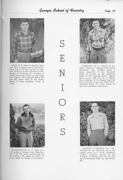 The Cypress Knee, 1951, Seniors, E. S. Lyle, S. A. Macrigeanis, H. L. Mahany, Carroll Martin, pg. 19
