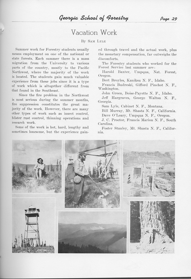 """The Cypress Knee, 1951, """"Vacation Work"""", Sam Lyle, pg. 29"""