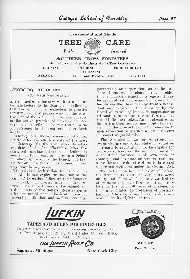 """The Cypress Knee, 1951, """"Licensing Foresters"""" (continued), Southern Cross Foresters, The Lufkin Rue Co., pg. 57"""
