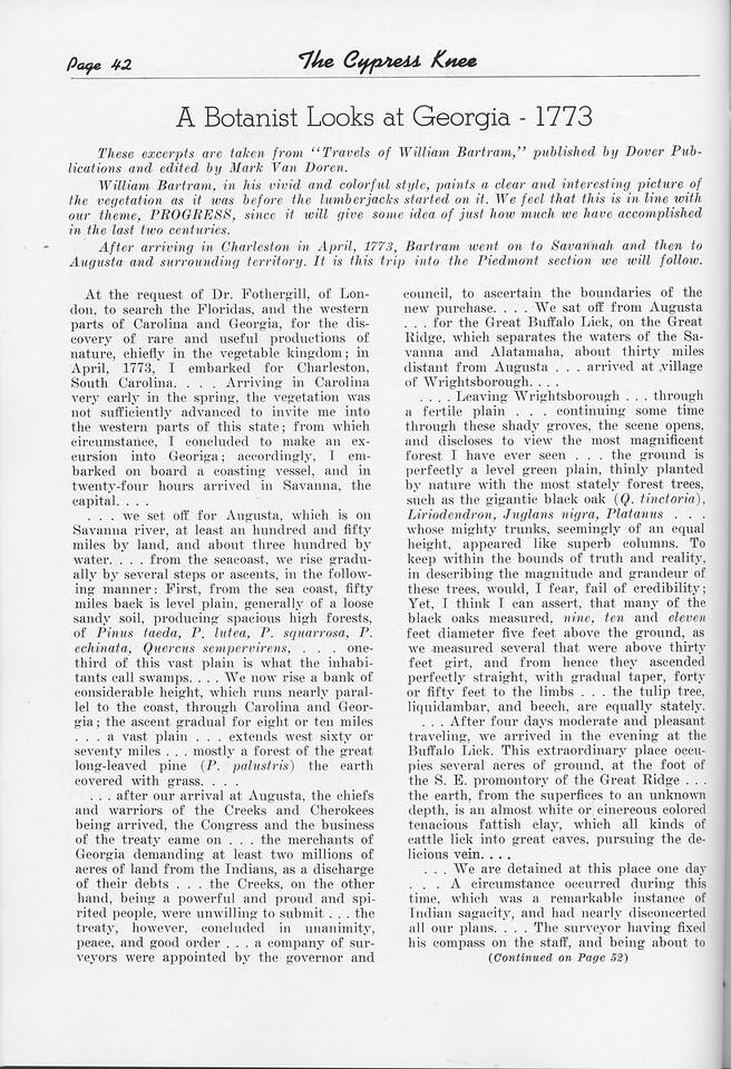 "The Cypress Knee, 1951, ""A Botanist Looks at Georgia-1773"", William Bartram, pg. 42"