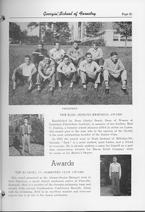 The Cypress Knee, 1952, Freshmen, The Earl Jenkins Memorial Award, Noah Jackson, Xi Sigma Pi-Forestry Club Award, Reid Patterson, pg. 21